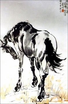 Animal Painting - Xu Beihong a horse old China ink