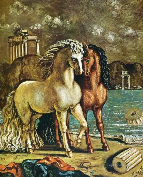 1963 Painting - antique horses on the aegean shore 1963 Giorgio de Chirico
