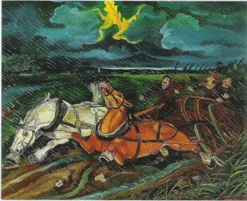 horses Art - antonio ligabue horses with storm