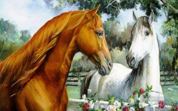 brown and white horse Oil Paintings
