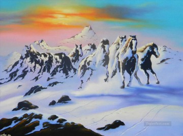 horse of snowing mountain JW 23 Oil Paintings