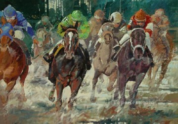 horce races racing Painting - horse racing impressionism