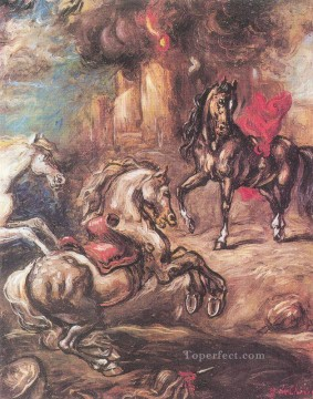 Animal Painting - horses on the run Giorgio de Chirico