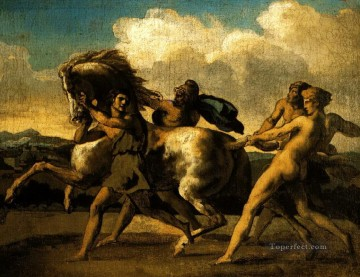 horses Art - slaves stopping a horse study for the race of the barbarian horses 1817