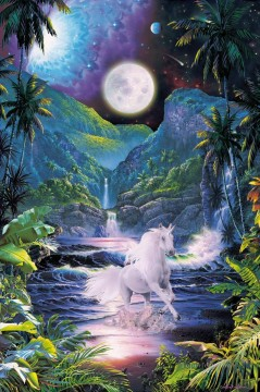 Animal Painting - unicorn under moon horses