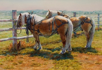 Animal Painting - west america indiana 77 horses