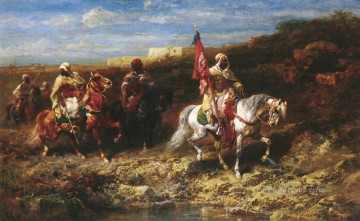 Animal Painting - Arab Horseman In A Landscape Arab Adolf Schreyer