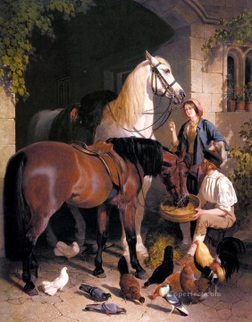 Horse Painting - Feeding The Arab Herring Snr John Frederick horse