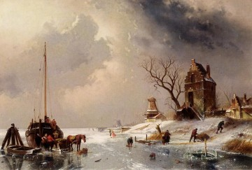 Horse Painting - Figures Loading A Horse Drawn Cart On The Ice landscape Charles Leickert