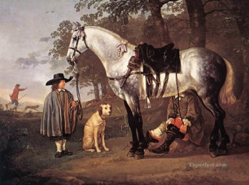 horse racing Painting - Grey Horse In A Landscape countryside painter Aelbert Cuyp