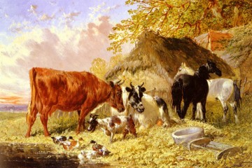 horses horse Painting - Horses Cows Ducks and a Goat By A Farmhouse John Frederick Herring Jr horse