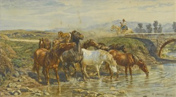 Animal Painting - Horses drinking at a stream Enrico Coleman genre