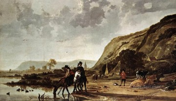 Animal Painting - Large River Landscape With Horsemen countryside scenery painter Aelbert Cuyp