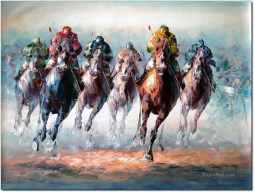 horce races racing Painting - horse racing 2