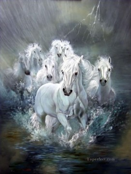horse racing Painting - white horses running in water