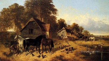 A Flourishing Farmyard John Frederick Herring Jr horse Oil Paintings