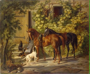 adam Painting - Adam Albrecht Horses at the Porch