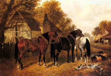 An English Homestead John Frederick Herring Jr horse Oil Paintings