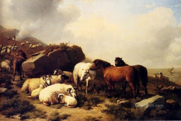 Coast Painting - Horses And Sheep By The Coast Eugene Verboeckhoven animal