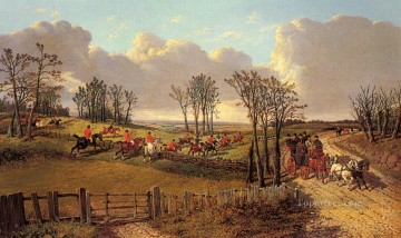 horse racing Painting - A Hunting Scene With A Coach And Four On The Open Road John Frederick Herring Jr horse