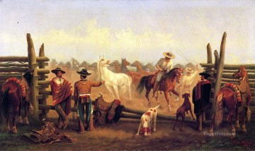 Horse Painting - James Walker Vaqueros in a Horse Corral