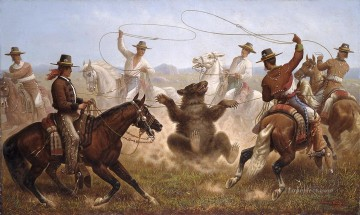 Horse Painting - bear hunting by horse riders
