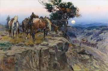 Indiana Oil Painting - west america indiana 60 horses