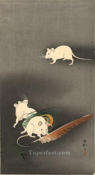 Animal Painting - three white mice 1900 Ohara Koson animals