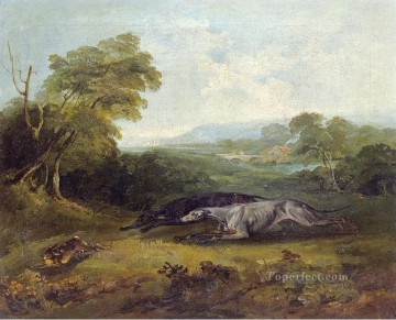 Animal Painting - COLONEL THORNTON TWO CELEBRATED GREYHOUNDS Philip Reinagle animals