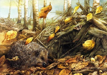 Animal Painting - Marjolein Bastin nature autumn hedgehog animals