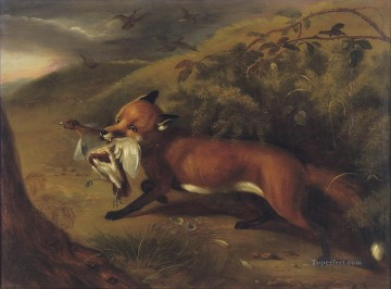 The fox with a partridge Philip Reinagle animals Oil Paintings