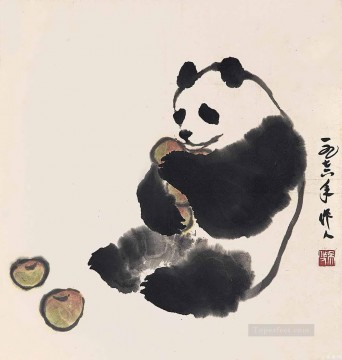Wu zuoren panda and fruit old China ink animals Oil Paintings
