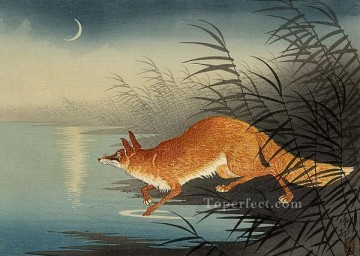 Animal Painting - fox in the reeds Ohara Koson animals