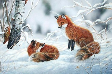fox snow animals Oil Paintings