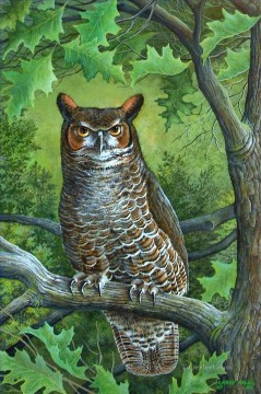 Animal Painting - great horned owl animals