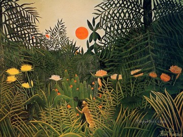 Animal Painting - negro attacked by a jaguar 1910 Henri Rousseau animals