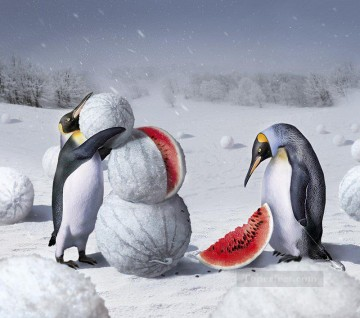 Animal Painting - penguins and watermelon animal