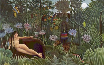 Dream Painting - Henri Rousseau The Dream animals
