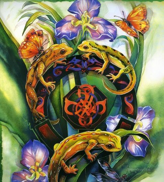 3d magic fantasy Painting - garden magic lizard animal