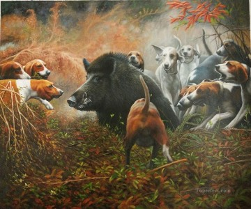 Animal Painting - hounds attacking wild boar animals