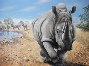 rhinoceros and zebra animals Oil Paintings