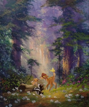 squirrel hare and deer in woods animal Oil Paintings