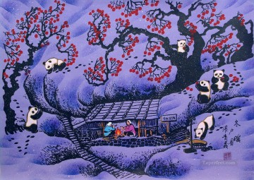 Chinese panda on plum blossom animals Oil Paintings