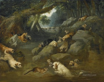 AN OTTER HUNT Philip Reinagle animals Oil Paintings