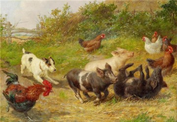 dog pigs hen and cock animal Oil Paintings