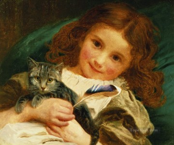 Sophie Oil Painting - Awake Sophie Gengembre Anderson pet girl