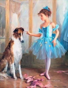Animal Painting - Ballet Girl and Dog KR 007 pet kids