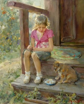 Animal Painting - Beautiful Girl puppy VG 13 pet kids