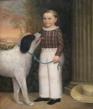 Boy with Dog Charles Soule pet kids Oil Paintings