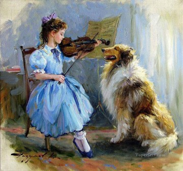 Girl and Dog KR 006 pet kids Oil Paintings